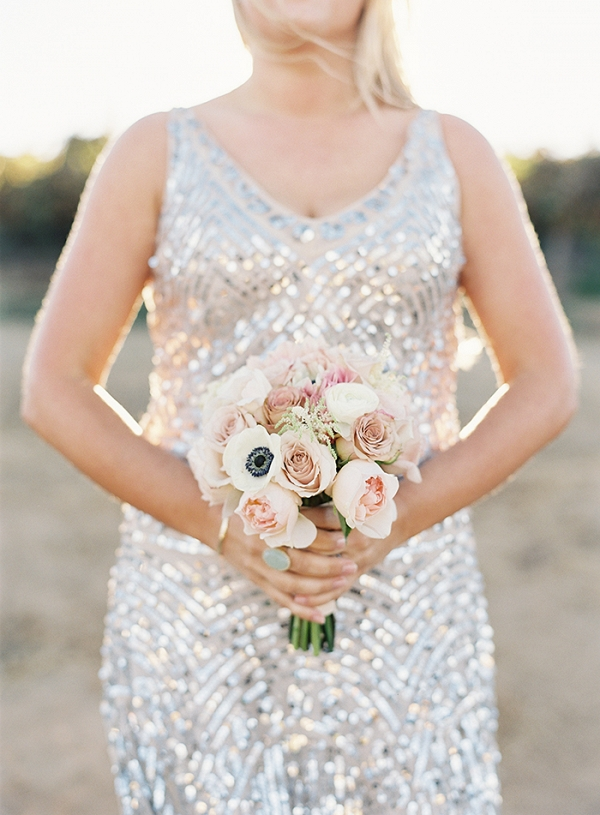 Silver Sequin Bridesmaid Dress with a Blush Bouquet