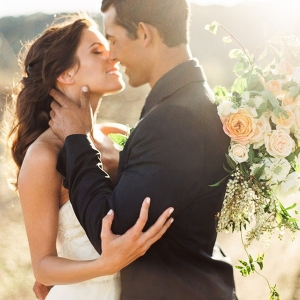 Romantic Magic Hour Wedding Portraits in the Vineyards
