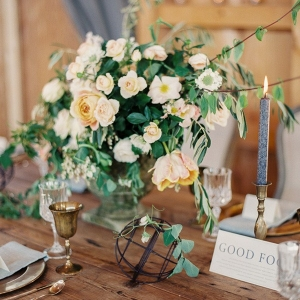 Rustic Farm Table with Natural Flowers and Industrial Decor
