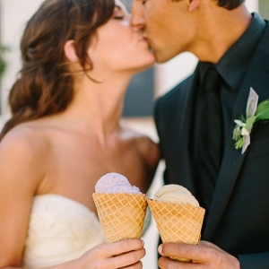 Bride and Groom with Artisan Ice Cream for a Summer Wedding