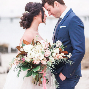 Romantic Coastal Wedding Photos with Organic Florals