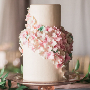 Wedding Cake with Cascading Sugar Flowers in Blush