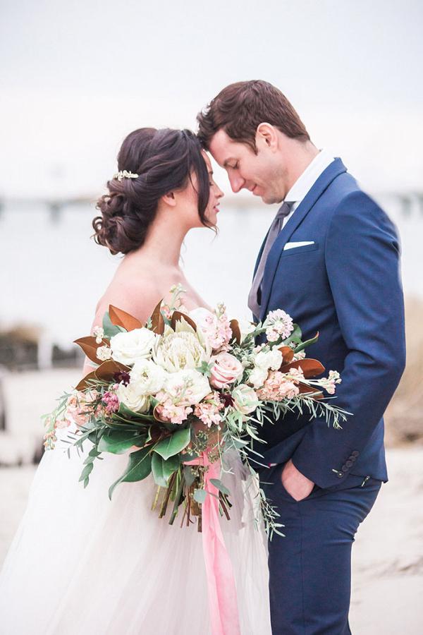 Romantic Coastal Wedding Photos with Organic Florals