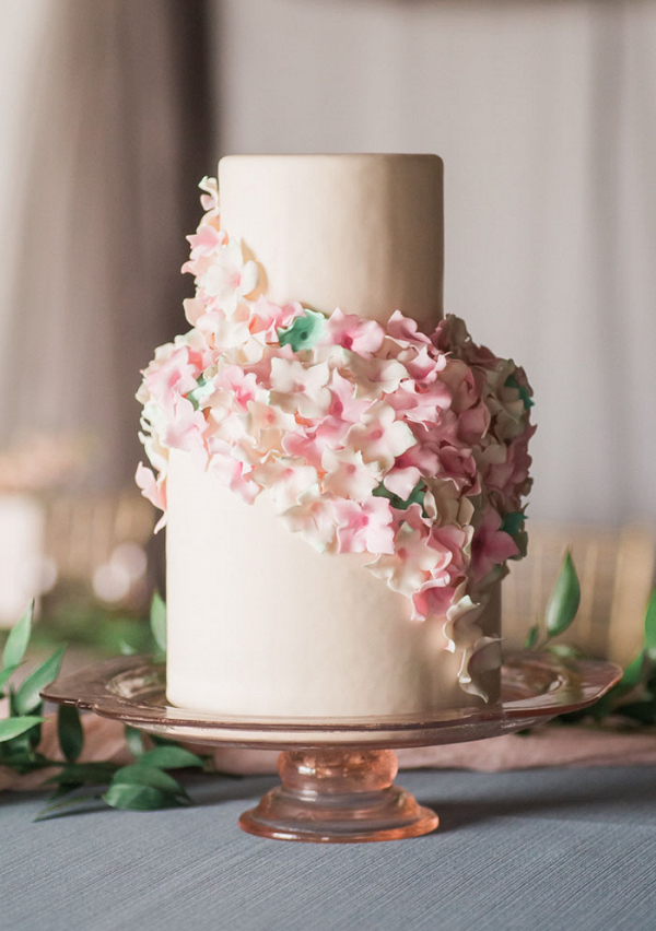 Wedding Cake with Cascading Sugar Flowers in Blush