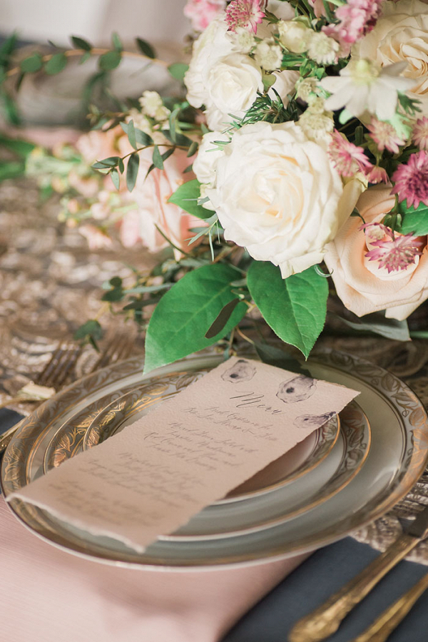 Vintage Lace and Floral Place Setting in Antique Gold and Blush