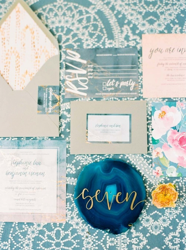 Gemstone Slice Table Numbers and Floral Print Wedding Stationery