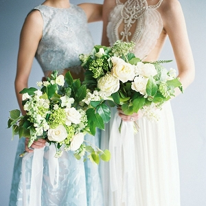 Modern Wedding Dress and Bridesmaid Style