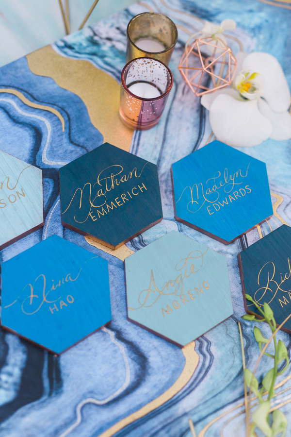 Blue and Gold Geometric Wedding Ideas