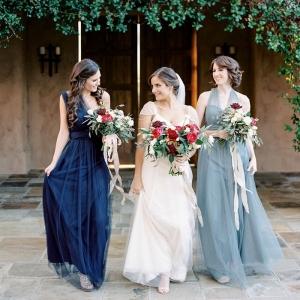 Elegant Bridesmaids in Shades of Blue