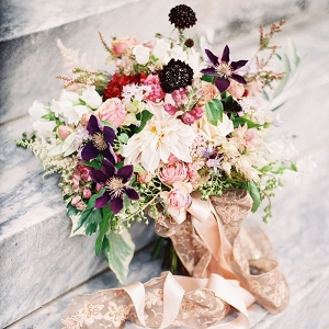 Ethereal and Romantic Bouquet in Berry and Rose Gold