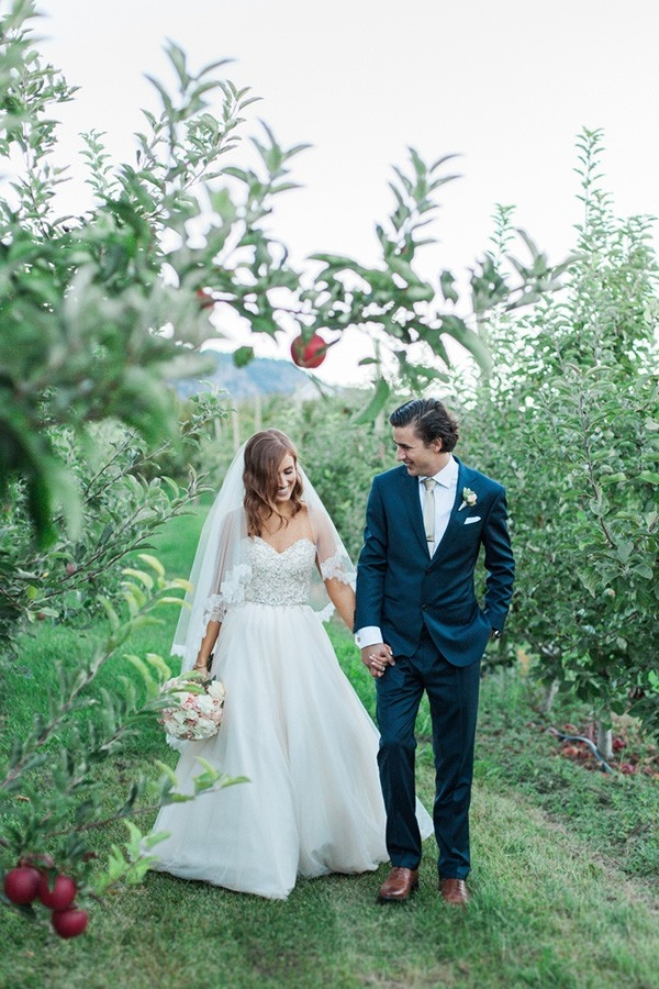 Romantic Apple Orchard Wedding with a Chic Bride and Groom