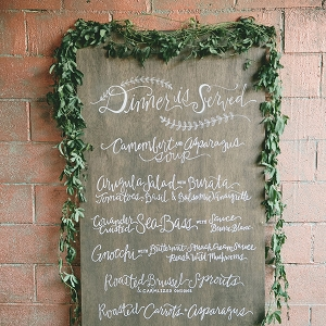 Calligraphy Wedding Menu Sign