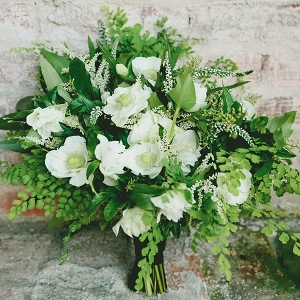 Botanical Wedding Bouquet in Green and White