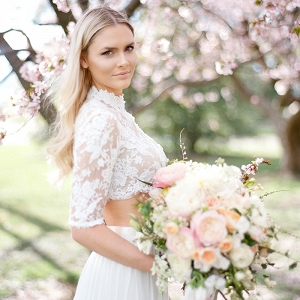 Pastel Spring Bridal Shoot with a Lace Crop Top Wedding Dress