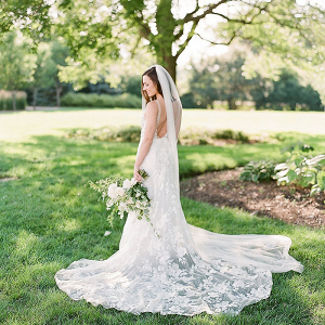 Romantic Lace Wedding Dress with a Long Veil