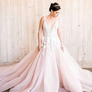 Romantic Beaded Blush Wedding Dress