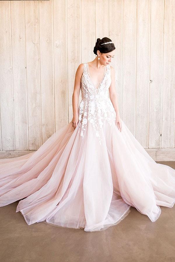 Romantic Beaded Blush Wedding Dress