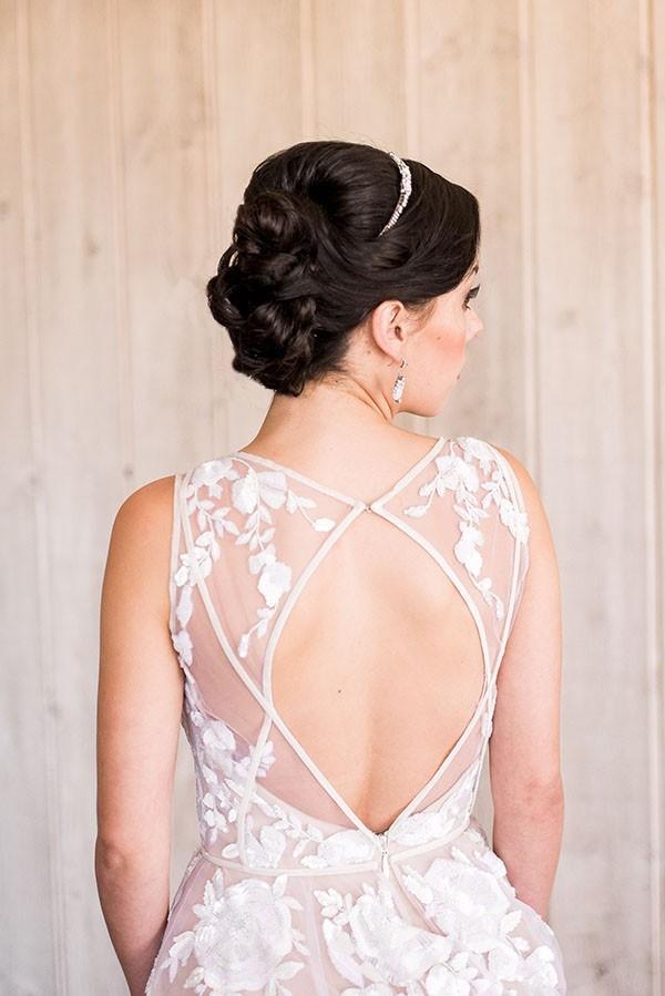 Elegant Bridal Updo with a Keyhole Back Wedding Dress
