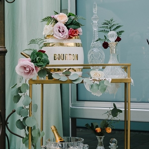Gold and Crystal Bar Cart with Greenery and Flowers