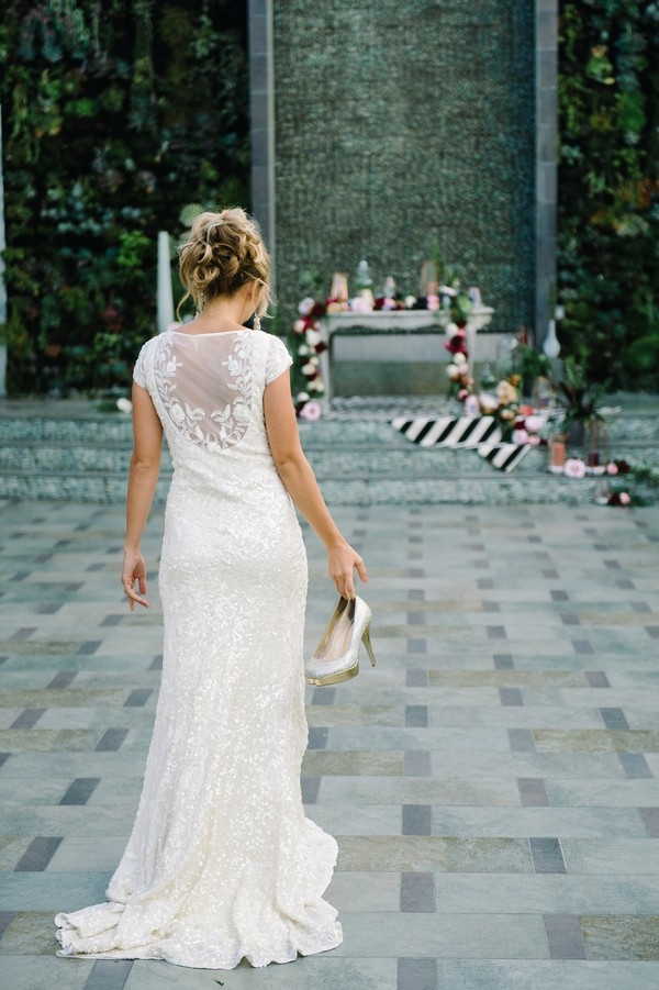 Sequin Wedding Dress with an Illusion Back