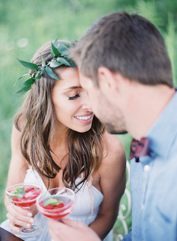 Bohemian Bride and Groom with Summer Berry Cocktails