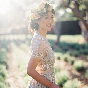 Romantic Summer Bride in a Vintage Beaded Wedding Dress