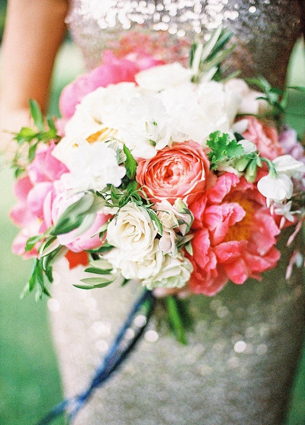 Bold Summer Bouquet with Coral Peonies and a Sparkling Bridesmaid Dress