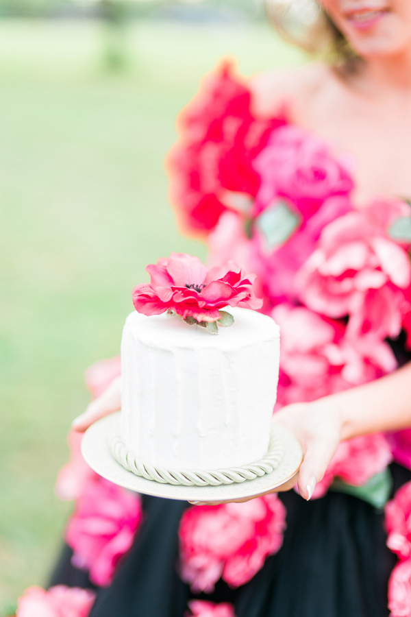 One Tier Wedding Cake with a Sugar Flower Topper