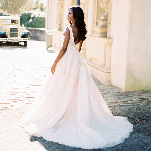 Romantic Blush Lace Wedding Dress