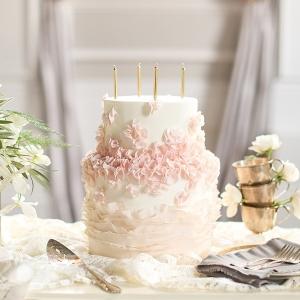 Ivory, Blush, and Gold Ruffled Wedding Cake
