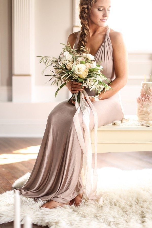 Romantic Engagement Style with a Champagne Dress and a Neutral Bouquet