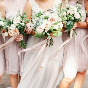 Romantic Lavender Bridesmaids with Lush Garden Bouquets