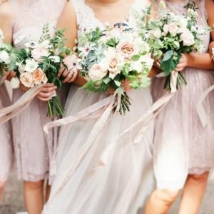 Romantic Lavender Bridesmaids with Lush Garden Bouquets