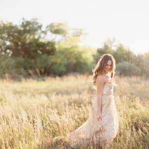 Magic Hour Bridal Portraits in a Gold Wedding Dress