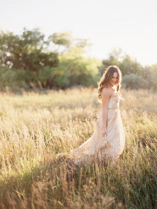 Magic Hour Bridal Portraits in a Gold Wedding Dress
