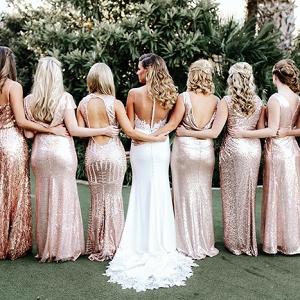 Mismatched Blush Sequin Bridesmaid Dresses