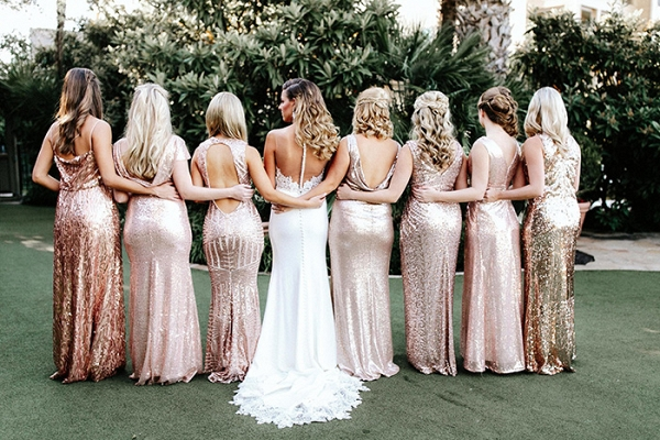 Mismatched Blush Sequin Bridesmaid Dresses