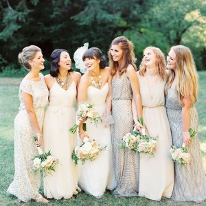 Sparkling Bohemian Bridesmaid Dresses in Delicate Metallics