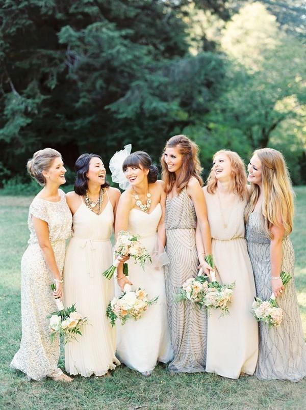Sparkling Bohemian Bridesmaid Dresses in Delicate Metallics