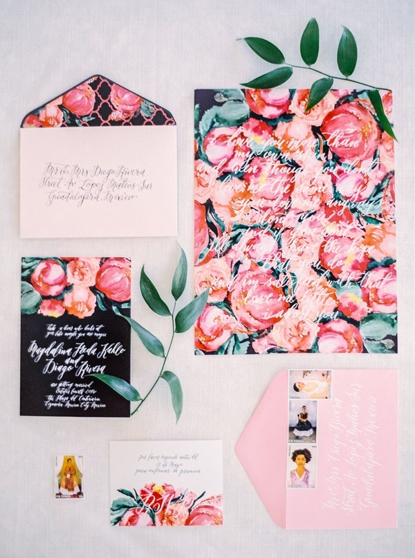 Colorful Floral Print Wedding Invitations