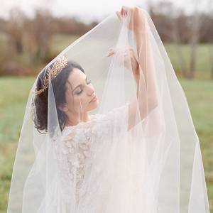 Romantic Drop Veil Bridal Portrait