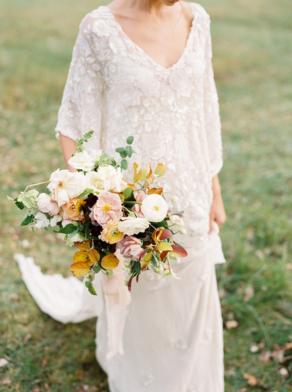 Beaded Lace Wedding Dress with an Autumn Bouquet