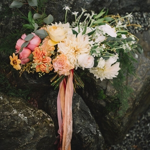 Ombre Bouquet in Vivid Fall Colors with Trailing Silk Ribbons