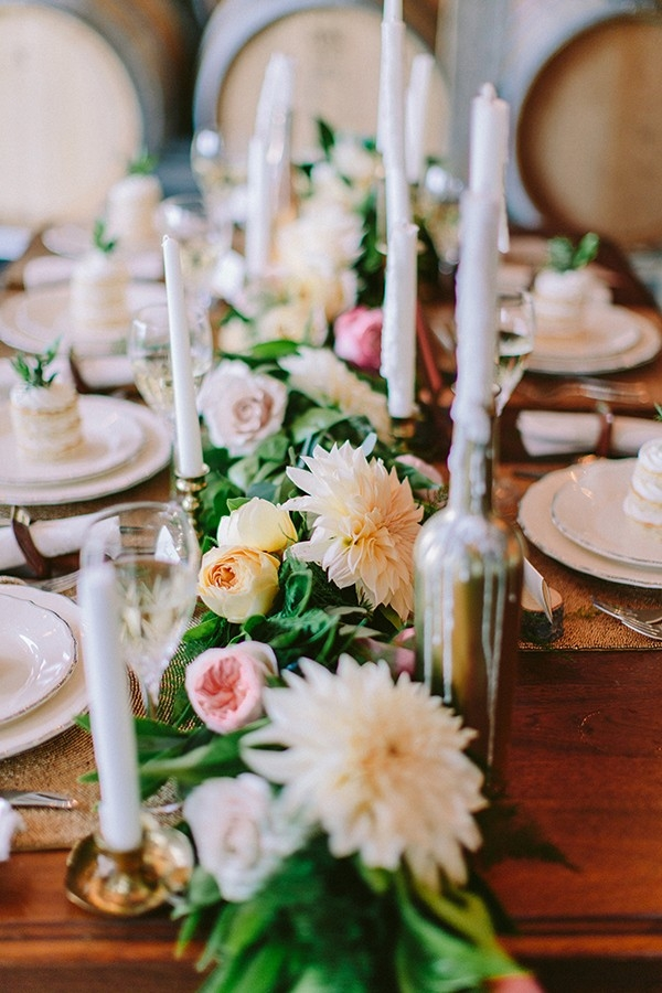 Elegant Botanical Tablescape with a Floral Runner and Taper Candles