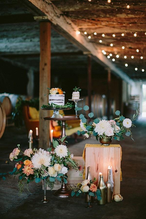 Vintage Wedding Cake and Dessert Bar with Botanical Florals