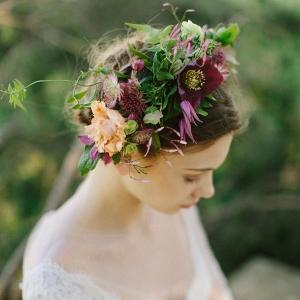 Burgundy and Peach Flower Crown in Rich Jewel Tones