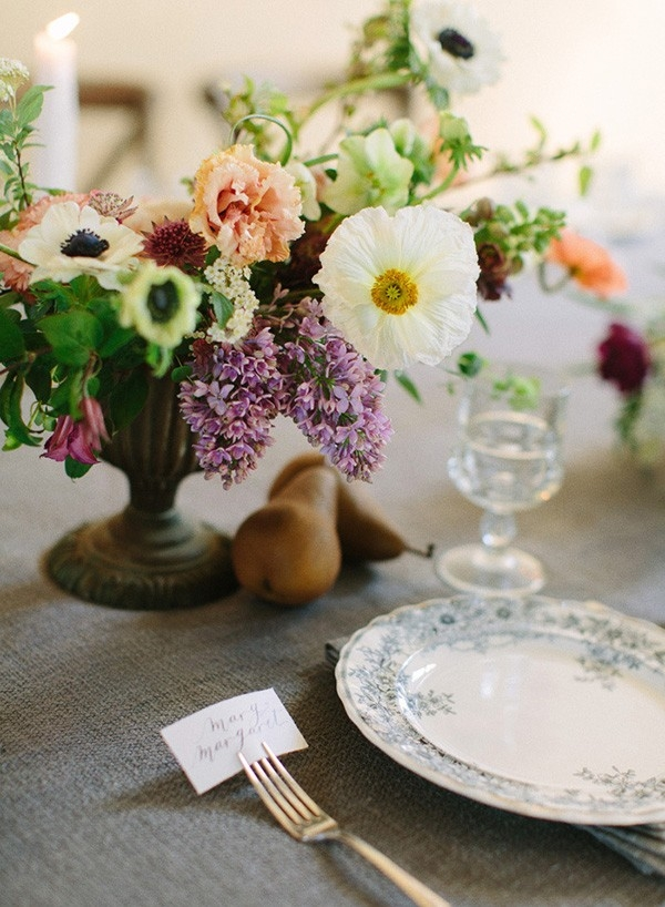 Vintage Compote Centerpiece with Pastel Spring Flowers
