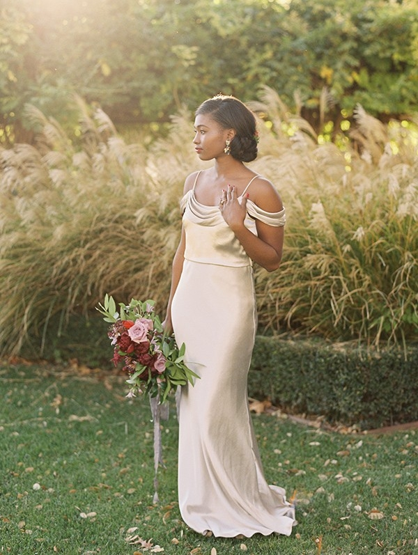 Elegant Vintage Bride in a Champagne Wedding Dress