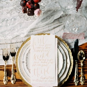 Blush and Gold Place Setting with a Calligraphy Menu