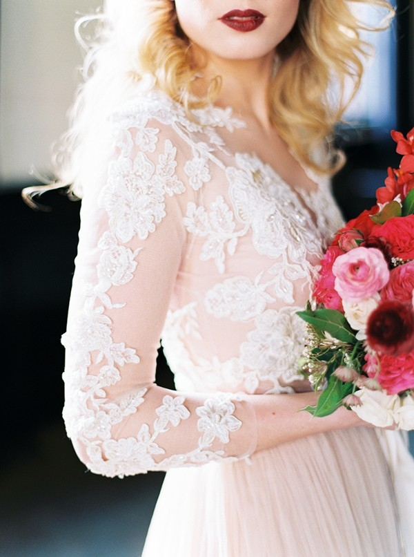 Delicate Blush Lace Wedding Dress with Long Sleeves
